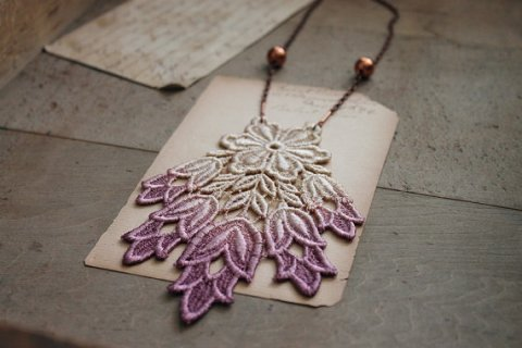 Beautiful gradient lace necklace- from radiant orchid to white.